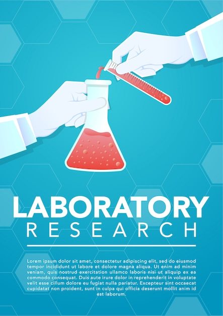 Ręka lekarza trzymając szklaną probówkę i zlewki laboratoryjne Premium Wektorów