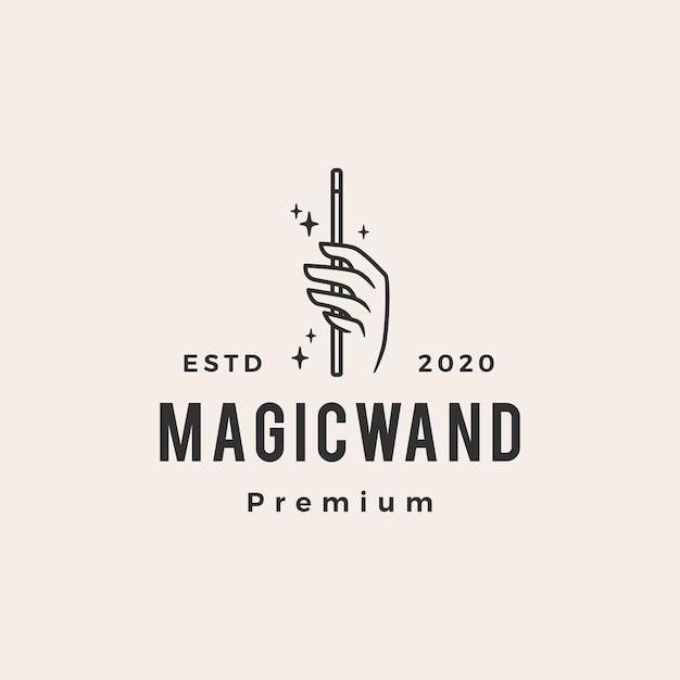 Ręka Magiczna Różdżka Hipster Vintage Logo Premium Wektorów