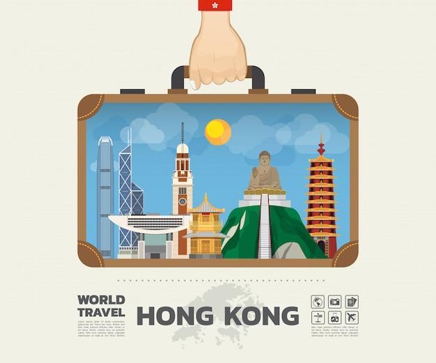 Ręka niosąca hong kong landmark global travel and journey infographic bag. Premium Wektorów