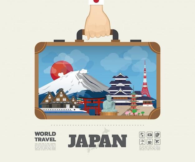 Ręka Niosąca Torbę Podróżniczą I Podróżniczą Japan Landmark Global Travel And Journey. Wektor Płaska Konstrukcja Szablonu. Wektor / Ilustracja. Może Być Używany Do Bannera, Biznesu, Edukacji, Strony Internetowej Lub Dowolnej Grafiki Premium Wektorów