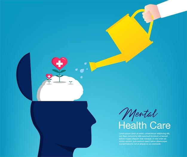 Ręka Podlewania Koncepcji Roślin Mózgu. Opieka Nad Zdrowiem Psychicznym Premium Wektorów