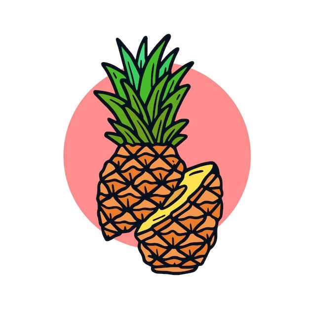 Ręka rysująca ananasowa stara szkoła tatuażu ilustracja Premium Wektorów