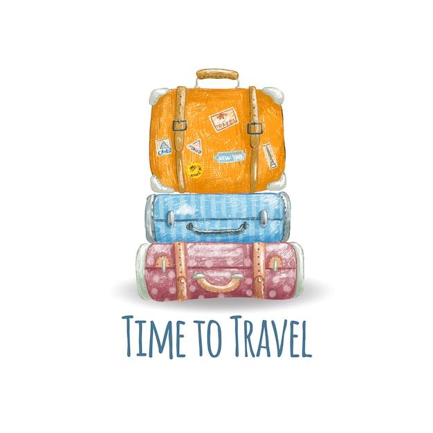 Ręka rysująca ilustracja śliczne rocznik walizki Premium Wektorów