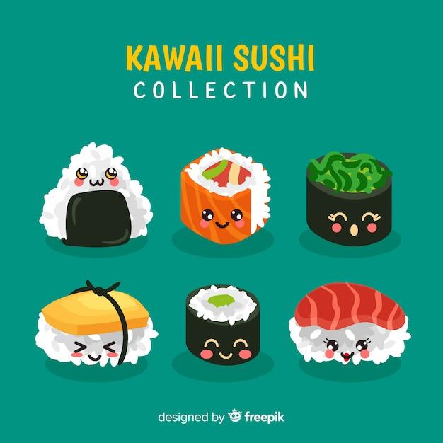 Ręka rysująca kawaii suszi uśmiechnięta kolekcja Darmowych Wektorów