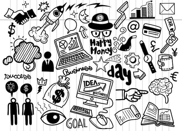Ręka Rysujący Biznesowy Tło, Biznesowy Pomysł Doodles Ikony Se, Doodles Ilustrację. Premium Wektorów