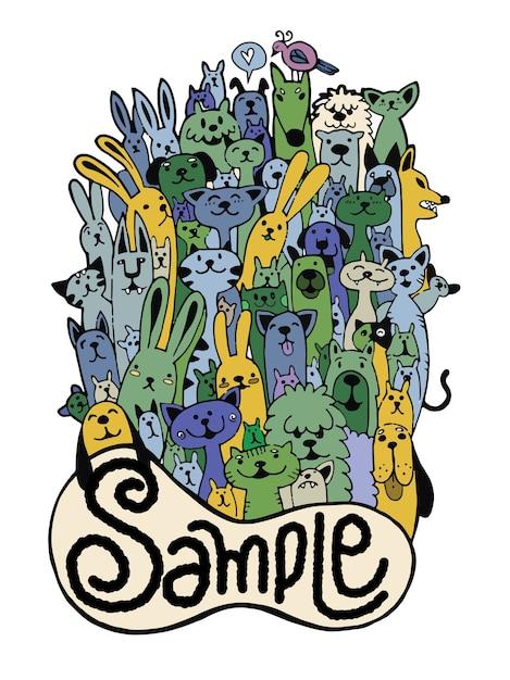 Ręka Rysujący Doodle Zwierzęcia Domowego śmieszny Set, Wektorowa Ilustracja. Premium Wektorów