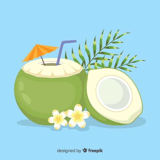 Ręka Rysujący Kokosowy Koktajlu Tło Darmowych Wektorów