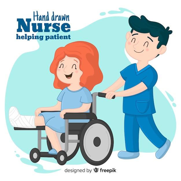 Ręka rysujący pielęgniarka pomaga pacjent Darmowych Wektorów