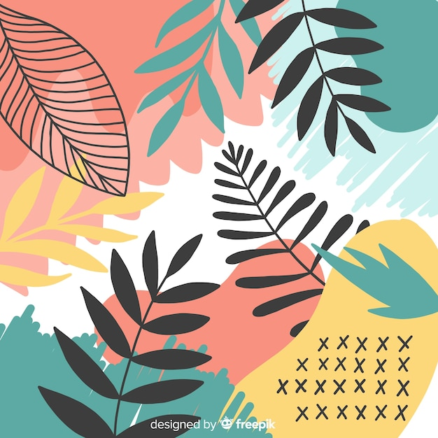 Ręka streszczenie tropikalny tło Darmowych Wektorów