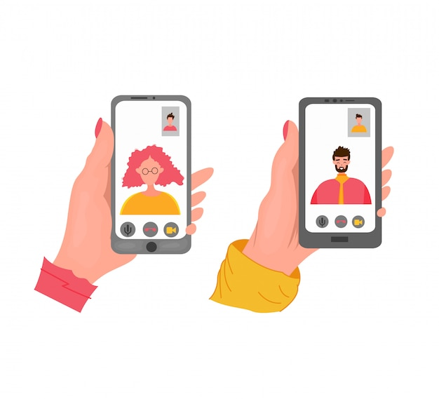 Ręka Trzyma Czarny Telefon. Zbliżenie: Kobieta O Czacie Wideo Z Mężczyzną. Płaska Ilustracja. Premium Wektorów