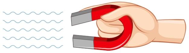 Ręka Trzyma Czerwony Magnes Podkowy Na Białym Tle Darmowych Wektorów