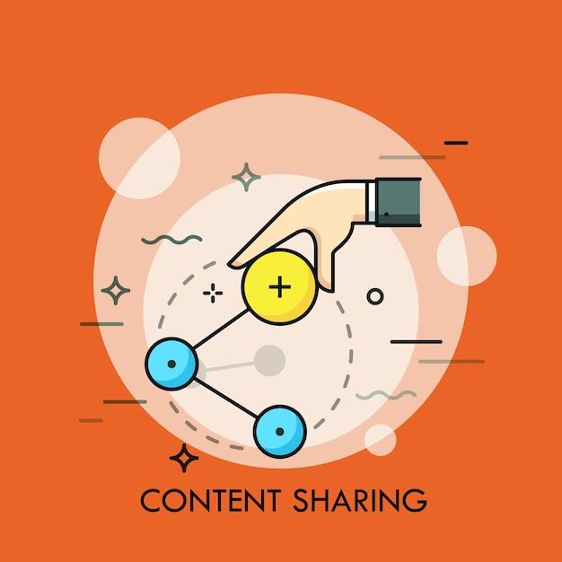 Ręka Trzyma Ikonę Akcji. Koncepcja Przesyłania Informacji I Wymiany Danych W Internecie, Usługi Sieci Społecznościowych, Komunikacja. Nowoczesna Ilustracja Premium Wektorów