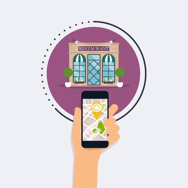 Ręka Trzyma Inteligentny Telefon Z Restauracji Wyszukiwania Aplikacji Mobilnych. Znajdź Najbliżej Na Mapie Miasta. Płaska Konstrukcja Styl Nowoczesnej Koncepcji. Premium Wektorów
