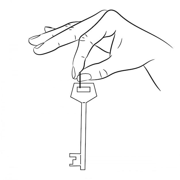 Ręka Trzyma Klucz Blokujący Ilustracji Wektorowych Monochromatyczne Premium Wektorów