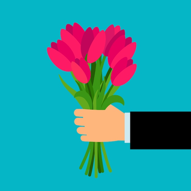 Ręka trzyma kolorowy bukiet dla kobiety Premium Wektorów