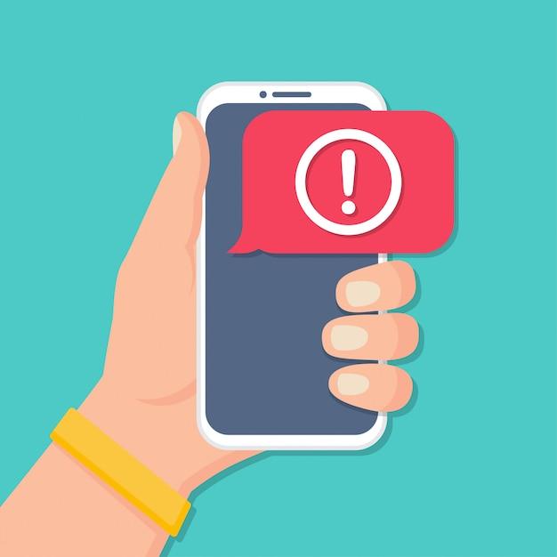 Ręka Trzyma Smartfon Z Powiadomieniem O Alertach W Płaskiej Konstrukcji Premium Wektorów