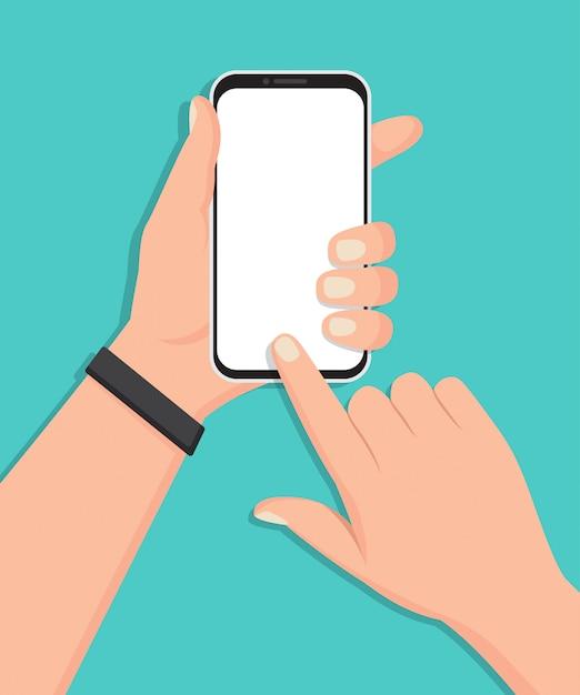 Ręka Trzyma Smartfon Z Pustym Ekranem W Płaskiej Konstrukcji Premium Wektorów
