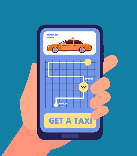 Ręka Trzyma Smartfona Z Aplikacją Taksówki Premium Wektorów