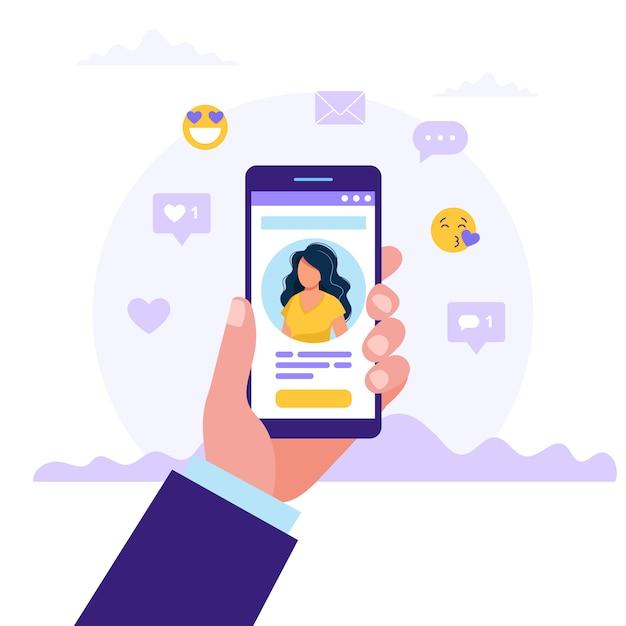 Ręka trzyma smartfony ze zdjęciem kobiety Premium Wektorów