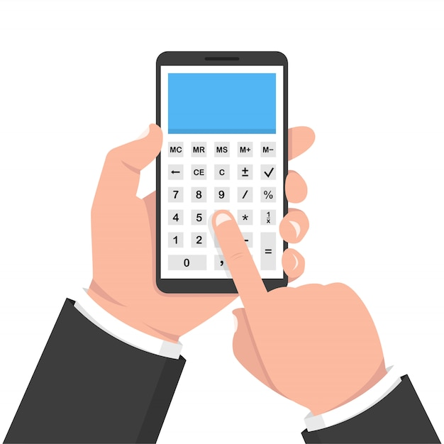 Ręka Trzyma Smartphone Z Kalkulatorem Premium Wektorów