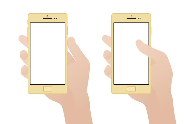 Ręka trzyma smartphone z pustego ekranu Premium Wektorów