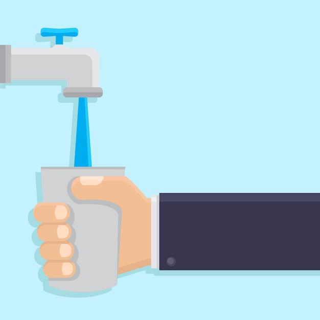 Ręka trzyma szkła Premium Wektorów