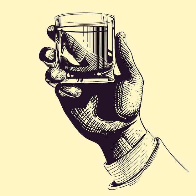 Ręka Trzyma Szkło Z Silną Napoju Rocznika Ilustracją Premium Wektorów
