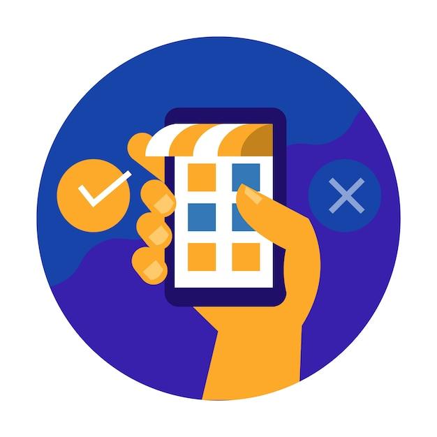 Ręka Trzyma Telefon Komórkowy I Potwierdzić Proces Zakupów. Premium Wektorów
