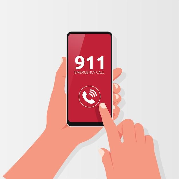 Ręka Trzyma Telefon Z Symbolem Połączenia Alarmowego. Ilustracja Koncepcja Bezpieczeństwa Premium Wektorów