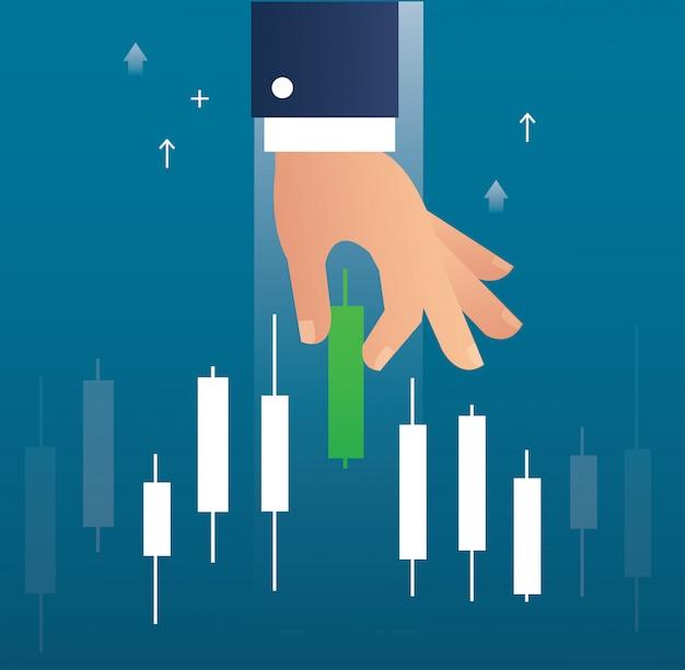 Ręka Trzyma Wykres Giełdzie świecznik Rynku Premium Wektorów