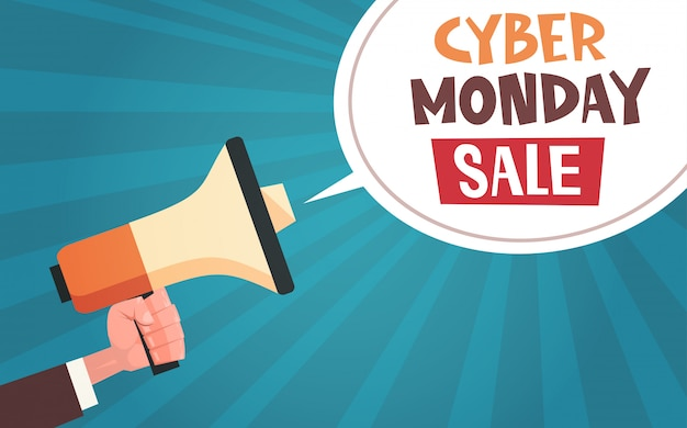 Ręka trzymać megafon z cyber poniedziałek sprzedaż wiadomości w bubble chat na pin up comic design tła Premium Wektorów