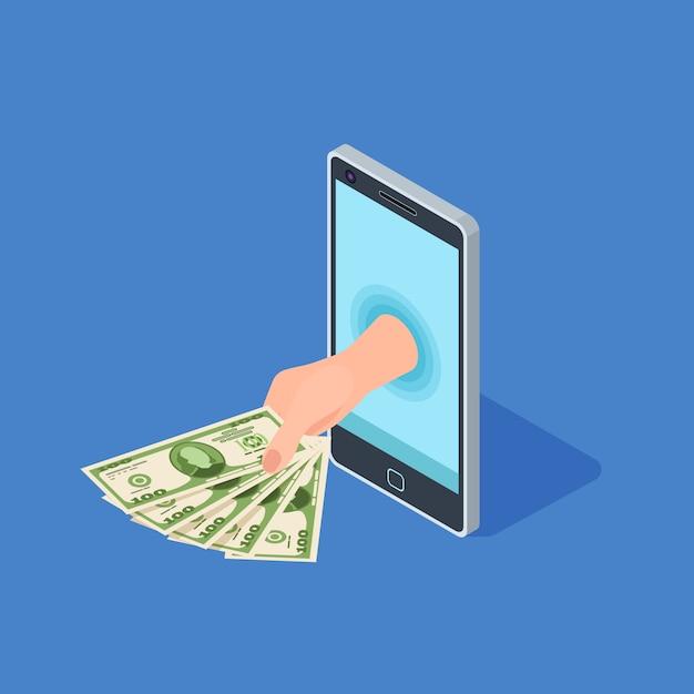 Ręka Trzymać Pieniądze Ze Smartfona Premium Wektorów