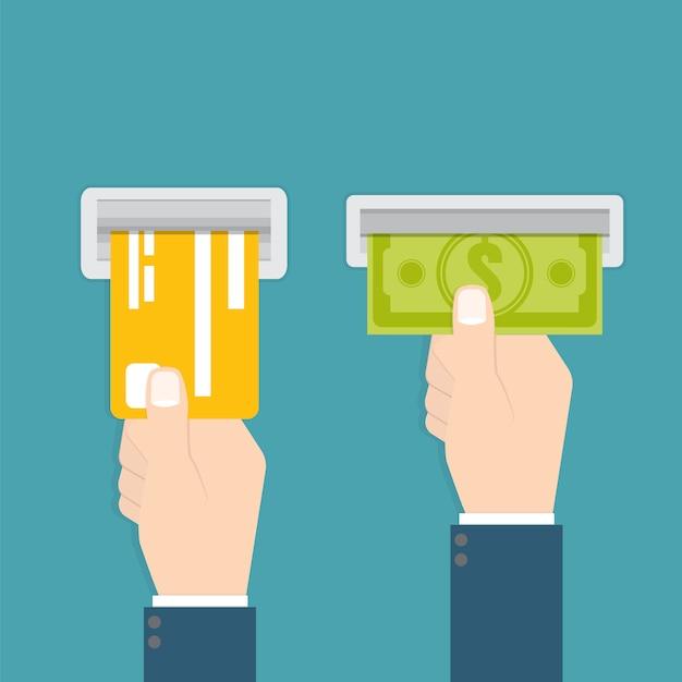 Ręka Wkłada Kartę Kredytową Do Bankomatu, A Ręka Bierze Pieniądze Z Bankomatu Premium Wektorów