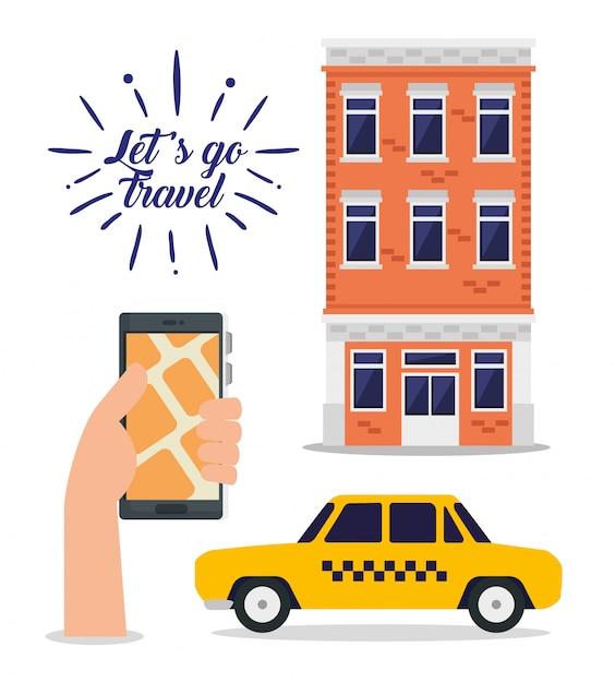 Ręka z adresem smartfona i budynkiem do podróży Darmowych Wektorów