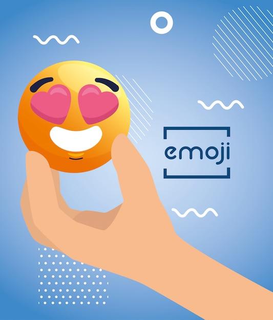 Ręka Z Emoji Uroczą, Twarz żółta Z Sercem W Oczach, Premium Wektorów