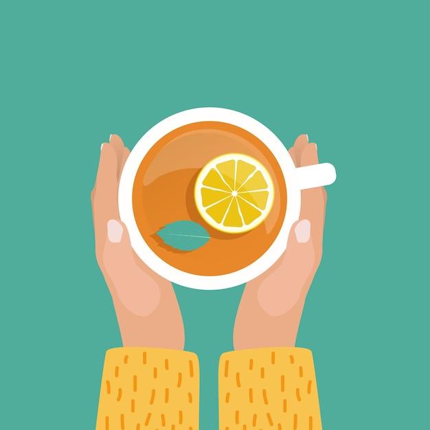 Ręka Z Filiżanką Herbaty Płaska Konstrukcja Premium Wektorów