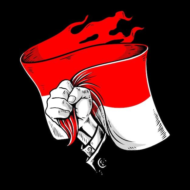 Ręka Z Flagą Indonezji Premium Wektorów