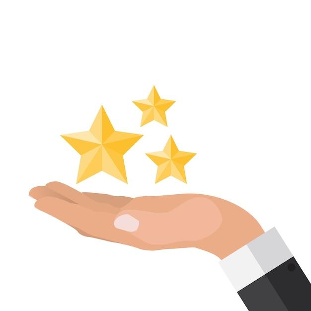 Ręka z gwiazdami płaska konstrukcja. present, gift, coupon concept Premium Wektorów