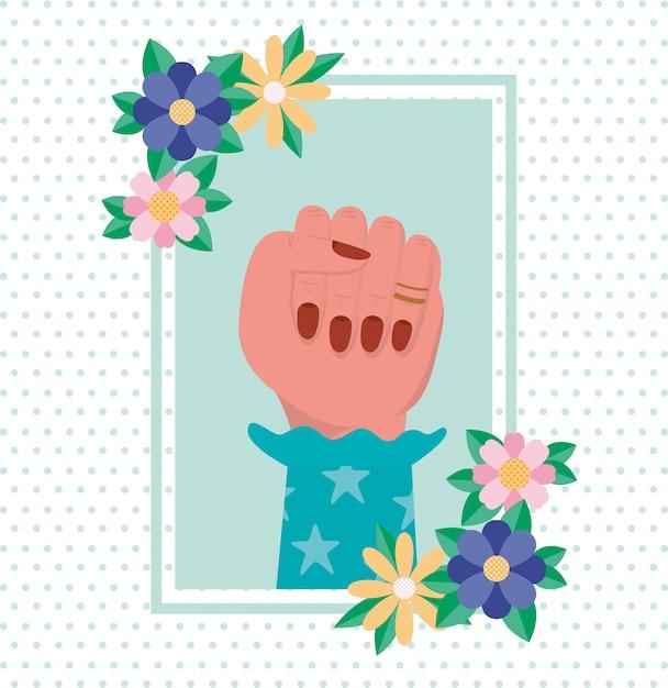 Ręka Z Kwiatami I Liśćmi Kobiety Inicjaci Wektor Premium Wektorów