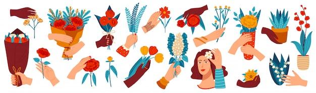 Ręka Z Kwiatami Ilustracyjnymi, Kreskówki Ludzka Ręka Trzyma Wiązkę Kolorowych Okwitnięć, Daje Prezentowi Kwitnienia Bukieta Ikonom Premium Wektorów