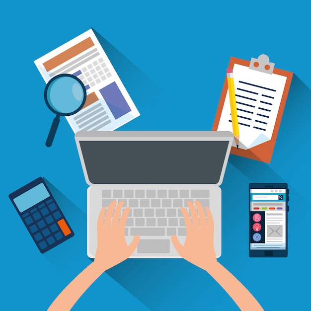 Ręka z laptopem i biuro finansami z kalkulatorem Darmowych Wektorów