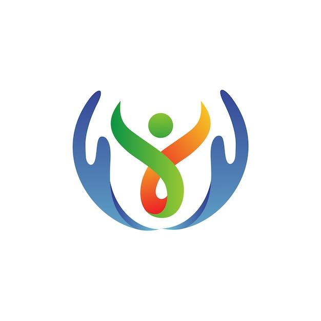 Ręka z ludźmi opieki logo wektor Premium Wektorów