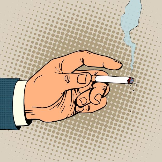 Ręka Z Palącym Papierosem Premium Wektorów