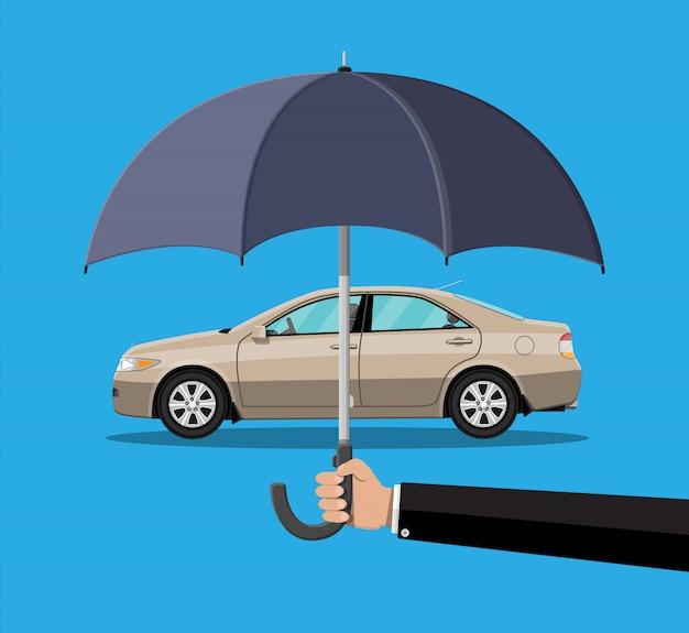 Ręka Z Parasolem, Który Chroni Samochód. Premium Wektorów