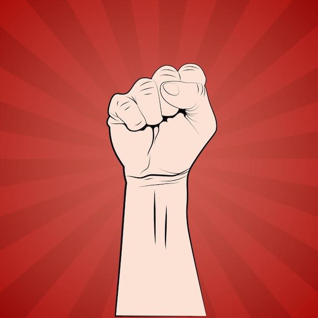 Ręka Z Pięścią Podniesiona Plakat Protestu Lub Rewolucji. Premium Wektorów
