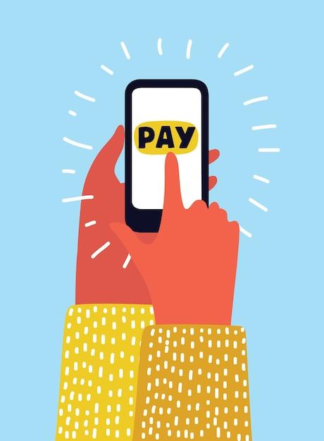 Ręka Za Pomocą Karty Kredytowej Telefonu Komórkowego, Biały Koncepcja Zakupów Online Premium Wektorów