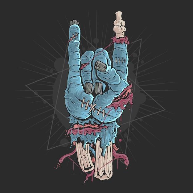 Ręka zombie z kości i ilustracji krwi Premium Wektorów