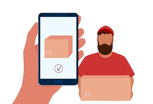 Ręki Mienia Telefon Z Pudełkiem Na Ekranie I Kurierem Premium Wektorów
