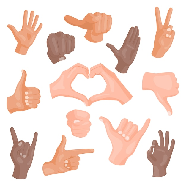 Ręki Pokazuje Różnych Gesty Odizolowywających Na Bielu Premium Wektorów