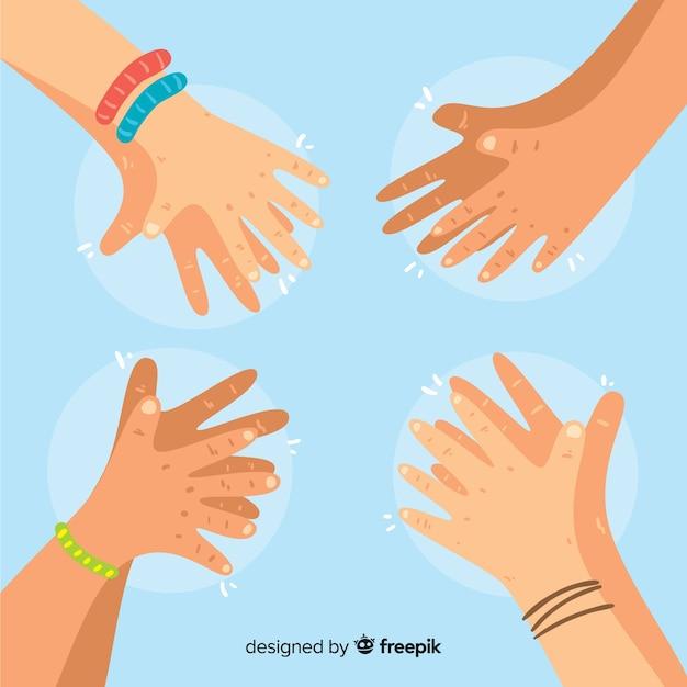 Ręki Rysować Ręki Brawo Tło Darmowych Wektorów